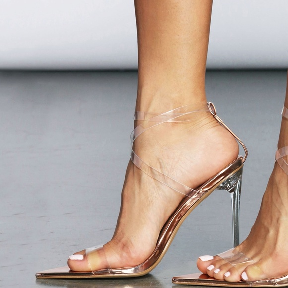 7dd4b6b8c43 NEW🔥 Rose Gold Clear Open Toe Strappy Heel Sandal Boutique
